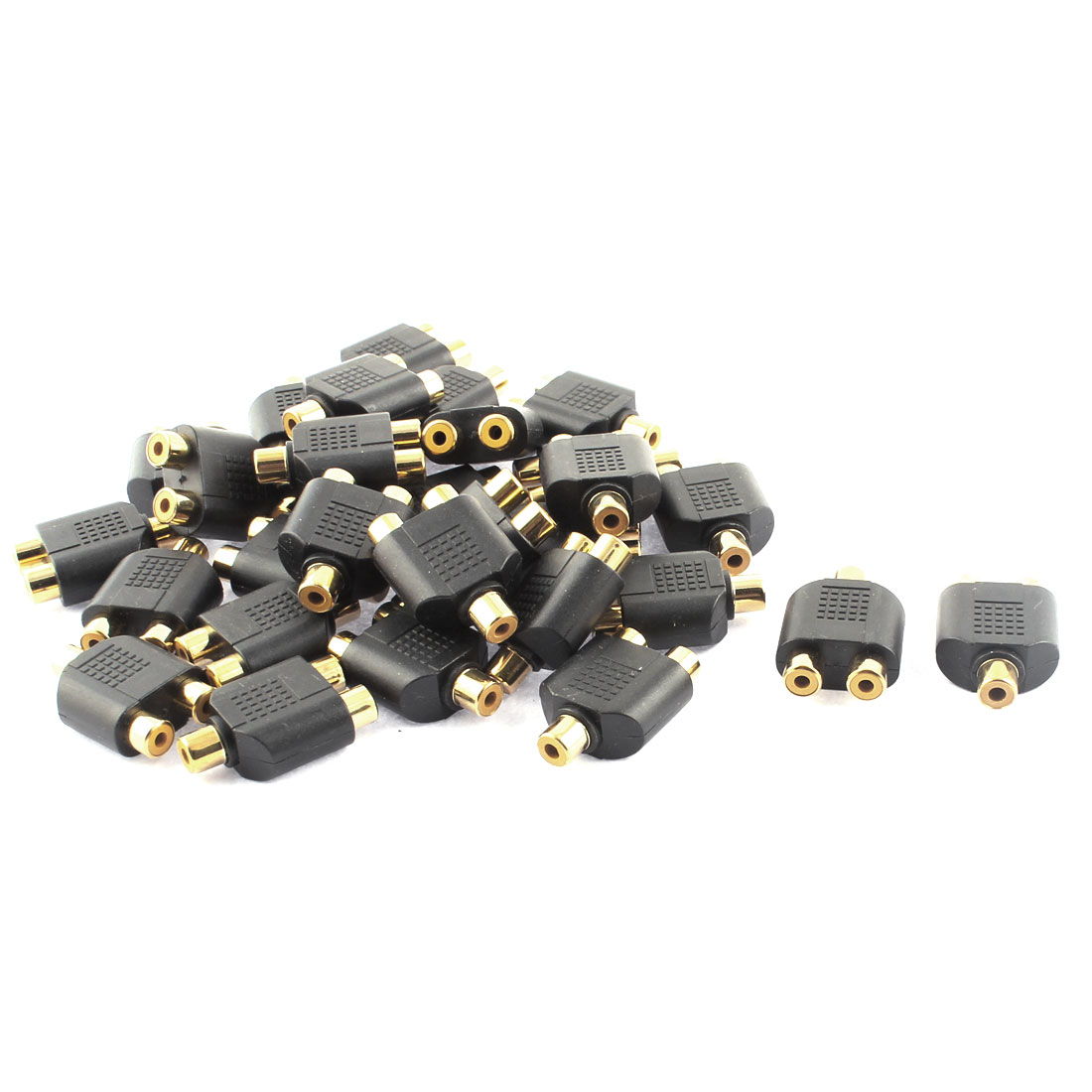 30pcs RCA Female to Double Female Stereo Jack Y Shape Splitter Audio Adapter Connector