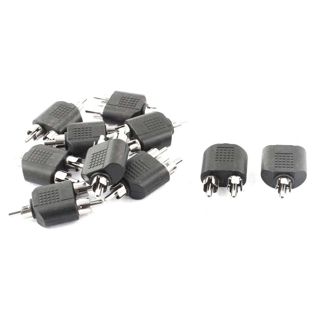 10pcs Dual RCA Male Jack to Male Stereo Audio Video Y Type Adapter Converter Connector