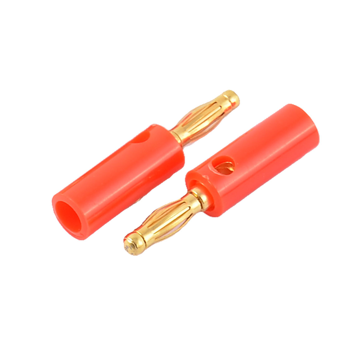 2pcs Red Plastic Housing Audio Speaker Cable Screw Design Banana Connector
