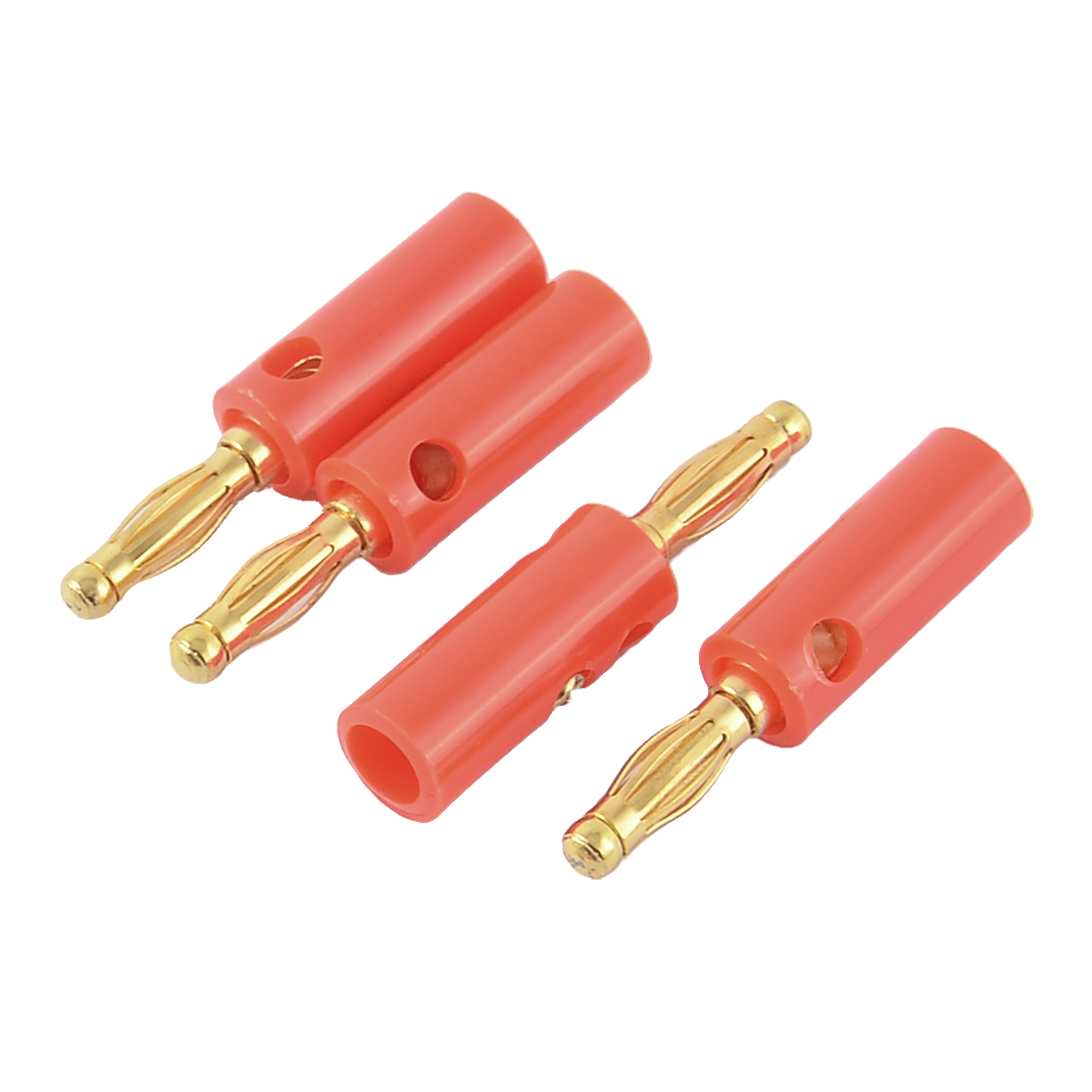4pcs Red Plastic Cover Audio Speaker Cable Cord Screw Design Banana Connector