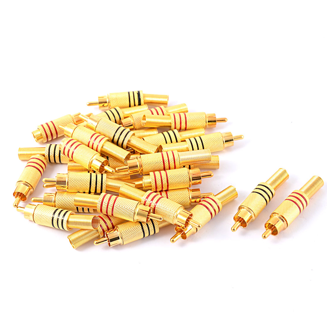 30pcs Metal Spring RCA Male Socket Audio Video Coaxial Coax Cable Connector Coupler