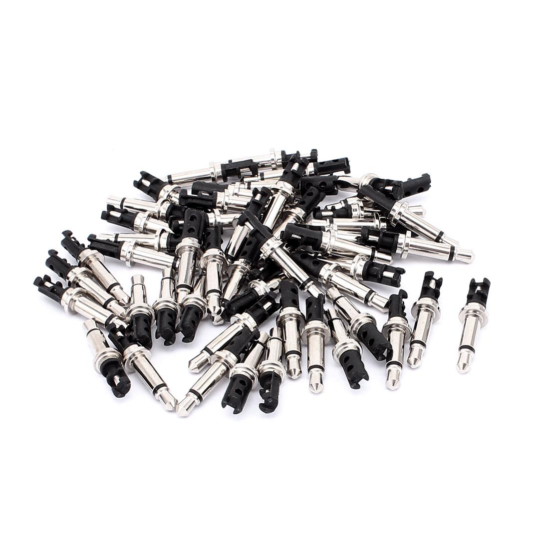 Headphone Soldering Jack Mono Male Connector 3.5mm Silver Tone 50PCS