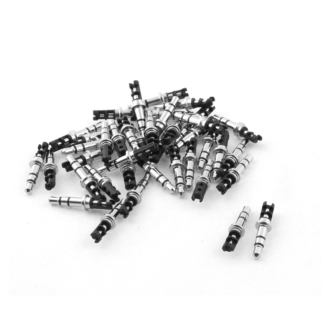 3.5mm Stereo Male Repair Audio Headphone Jack Solder Connector Black 40pcs