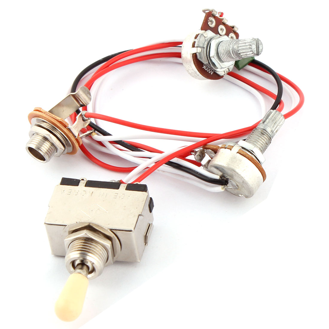 Electric Guitar Pickup 3-Way Toggle Switch A500K B500K Pots Wire Wiring Harness