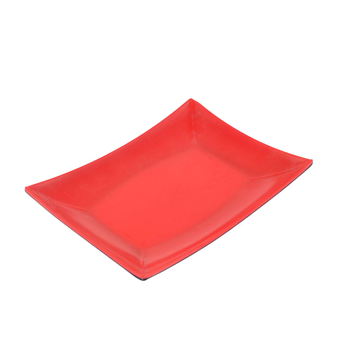 Kitchen Plastic Rectangle Shaped Food Appetizer Dish Plate Tray Red Black 8""