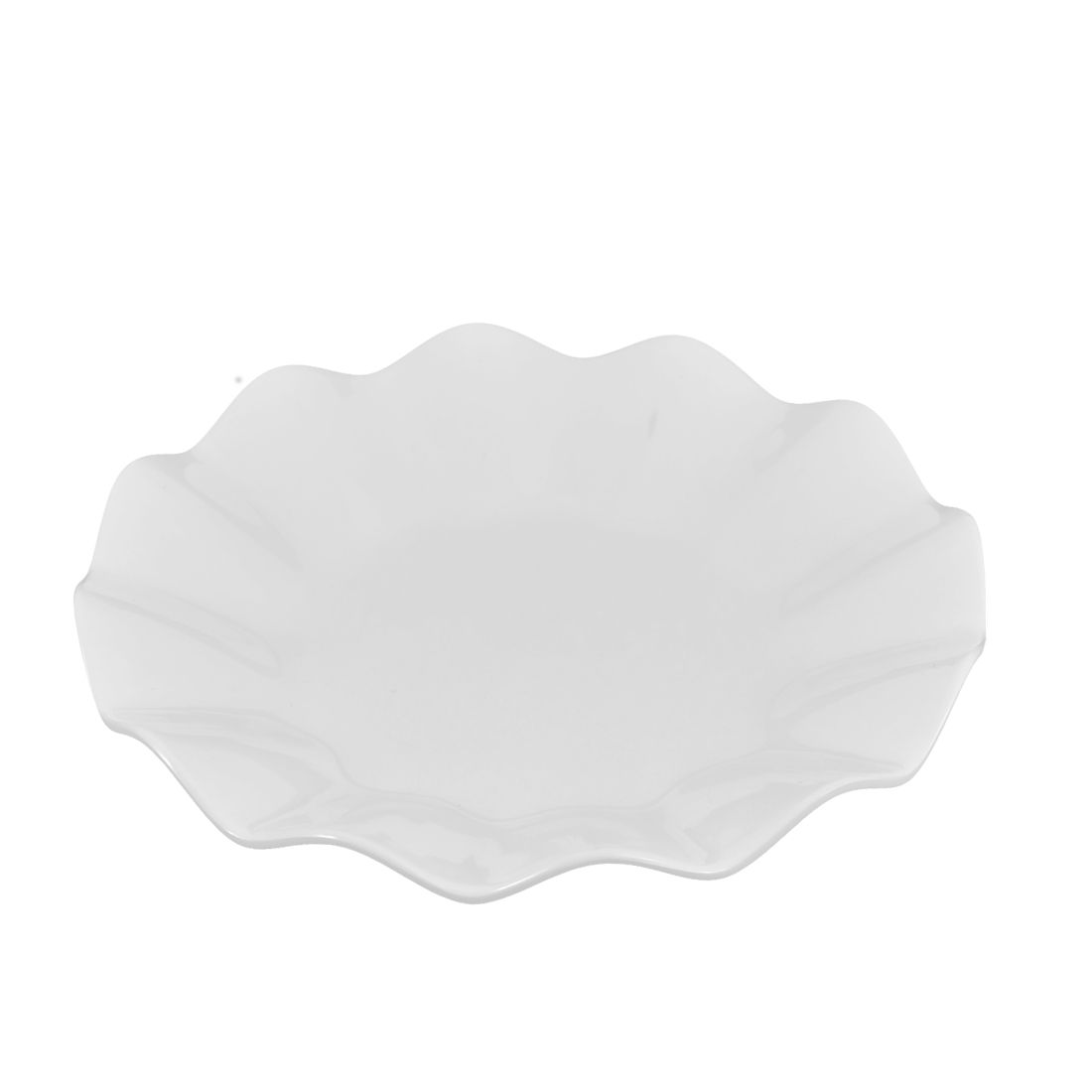Wavy Edge Plastic Food Appetizer Dessert Cake Dish Plate Container White