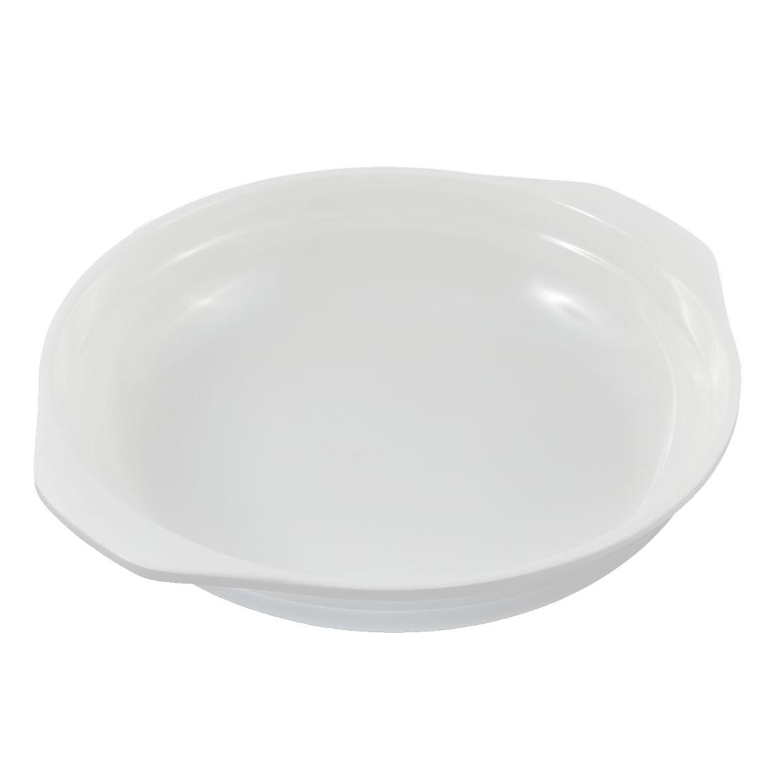 "Restaurant Home Kitchen Plastic Dual Ear Handles Dish Plate White 6"" Dia"