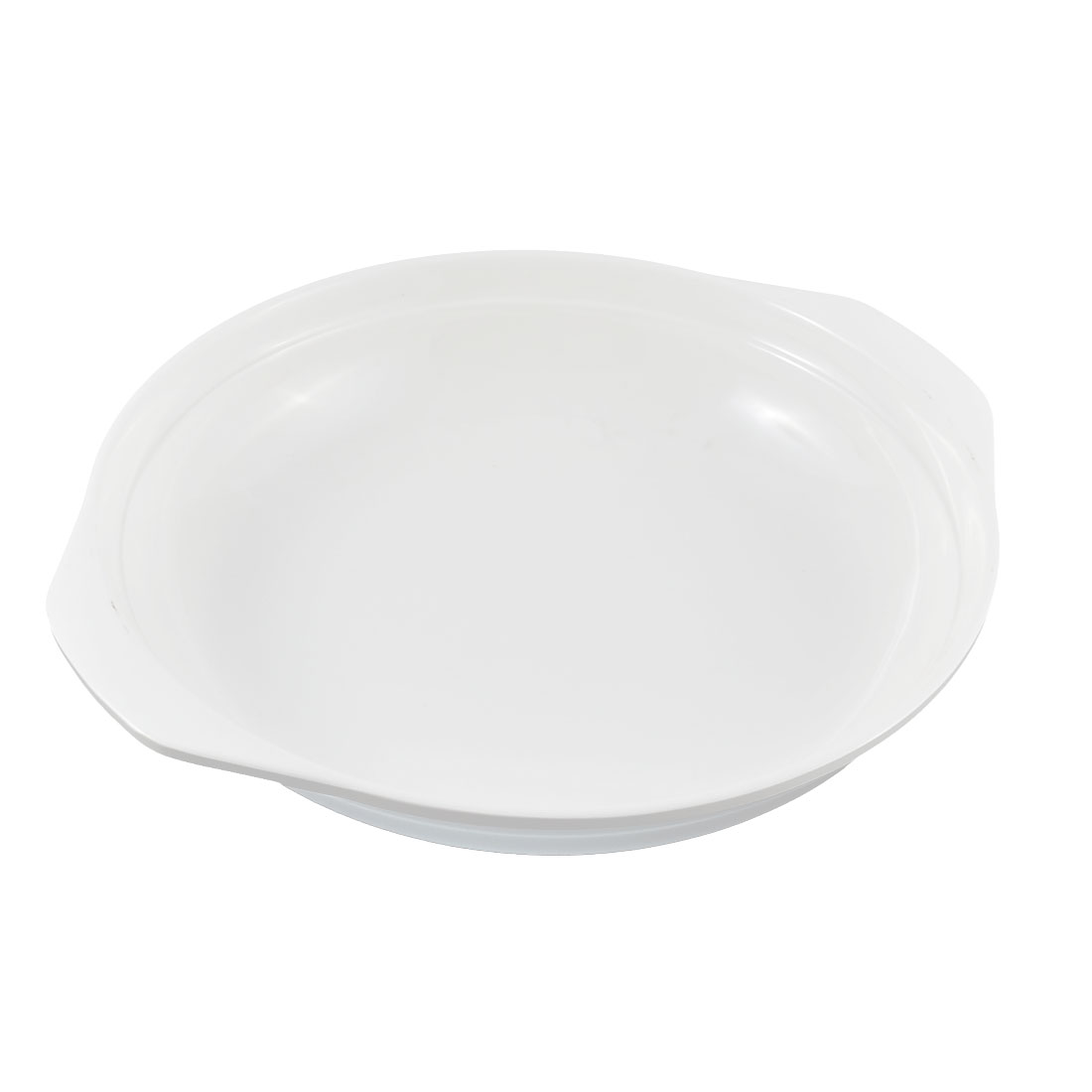 Restaurant Plastic Dual Ear Handle Design Lunch Food Soup Salad Dish Plate White
