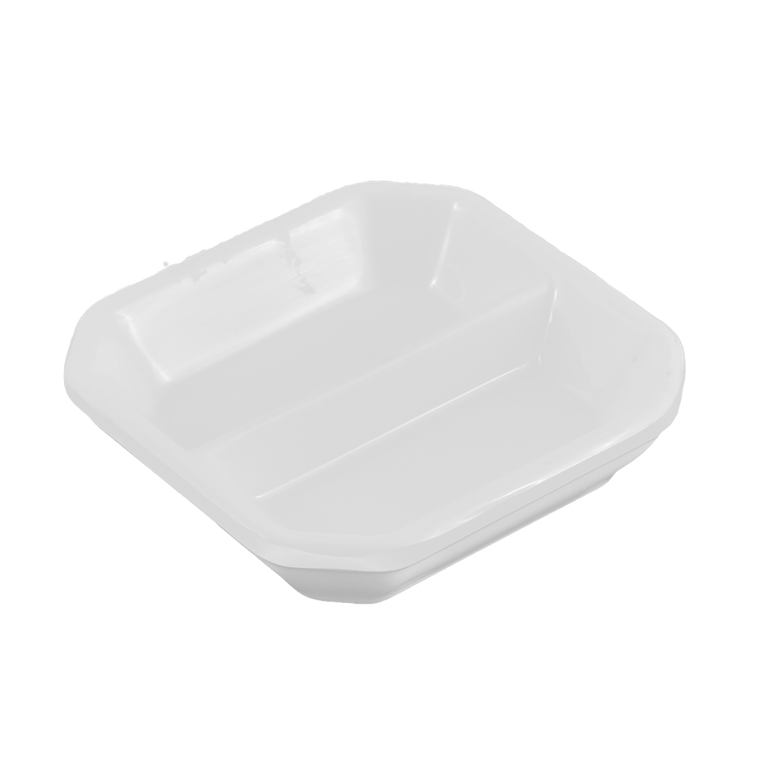 Plastic Square Design 2 Slots Sushi Soy Sauce Wasabi Serving Dipping Dish Plate