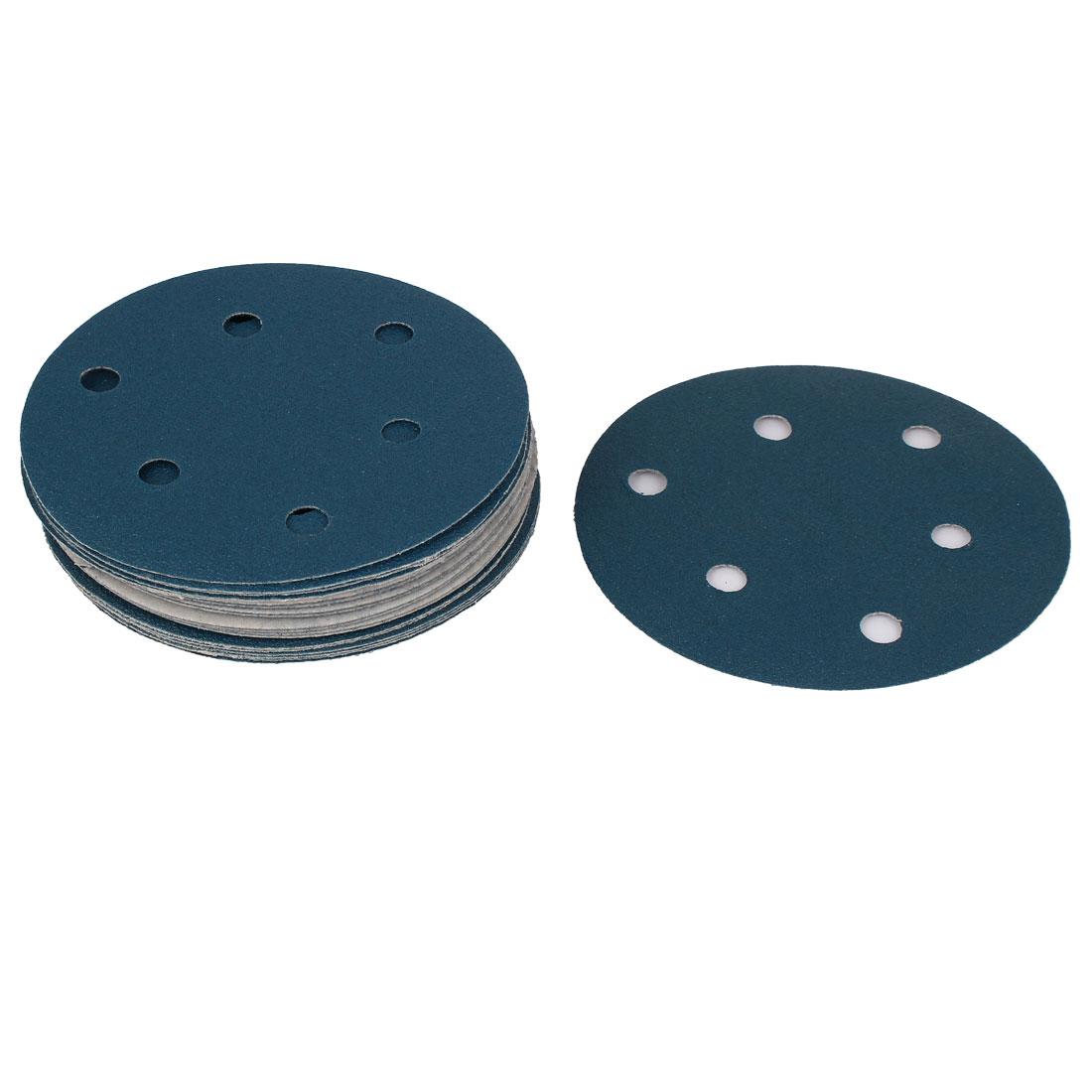 "5"" Sandpaper Auto Car Paint Polishing Sanding Disc Hook and Loop Fastener 6 Holes 100 Grit 20pcs"