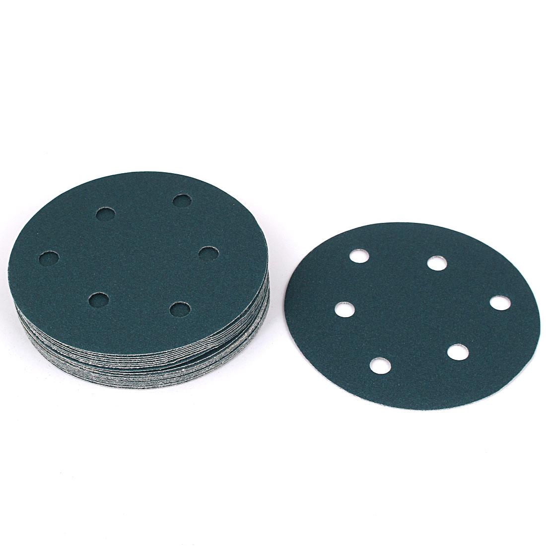 "5"" Sandpaper Auto Car Paint Polishing Sanding Disc Hook and Loop Fastener 6 Holes 180 Grit 20pcs"