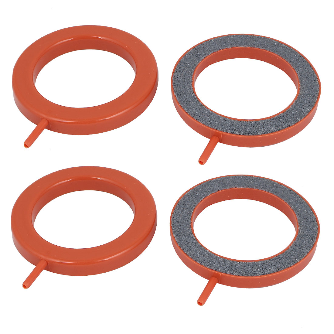 3mm Air Inlet Dia Round Bubble Airstone Orange Gray 4 Pcs for Aquarium Fish Tank