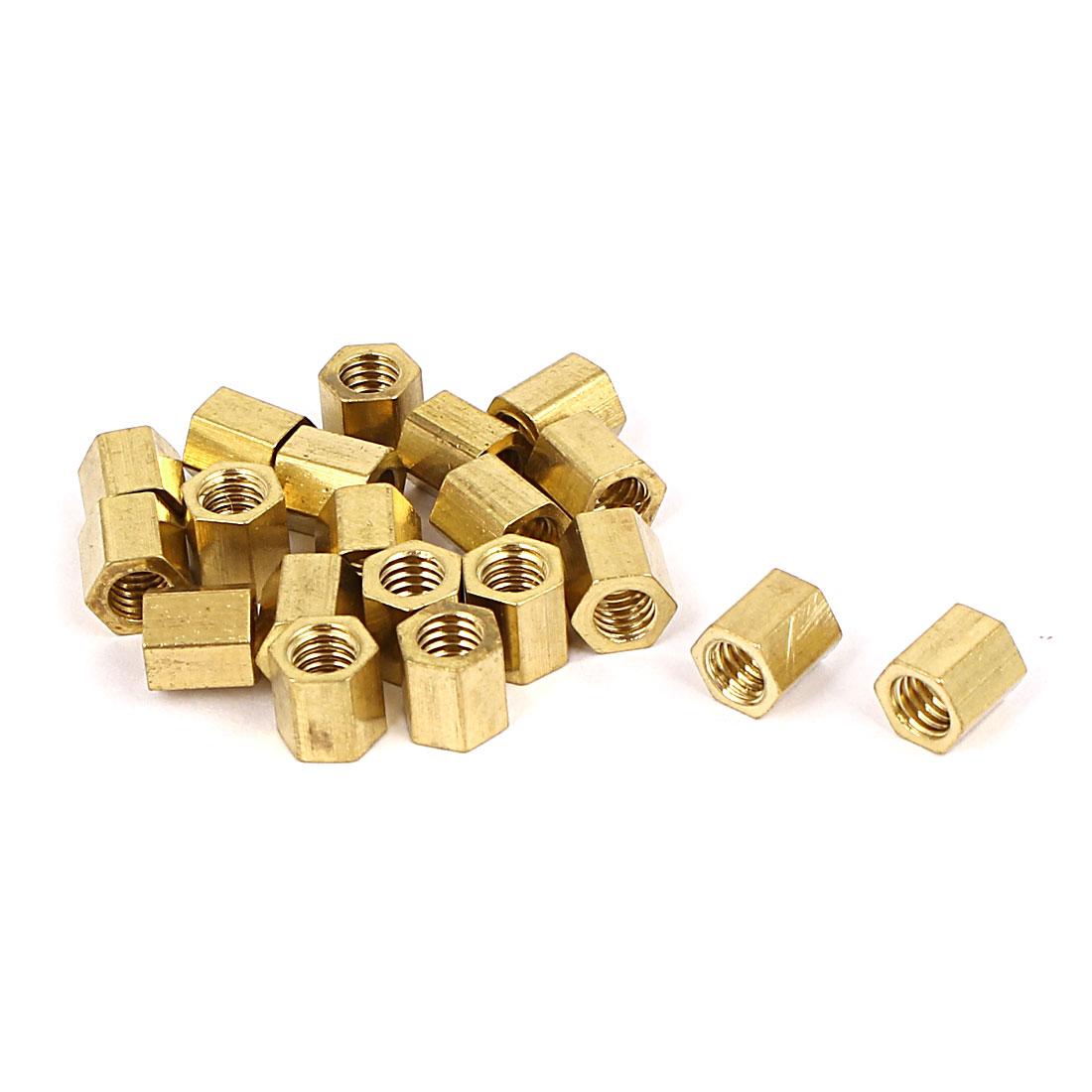 M4 x 6mm Female/Female Thread Brass Hex Standoff PCB Pillar Spacer 20 Pcs