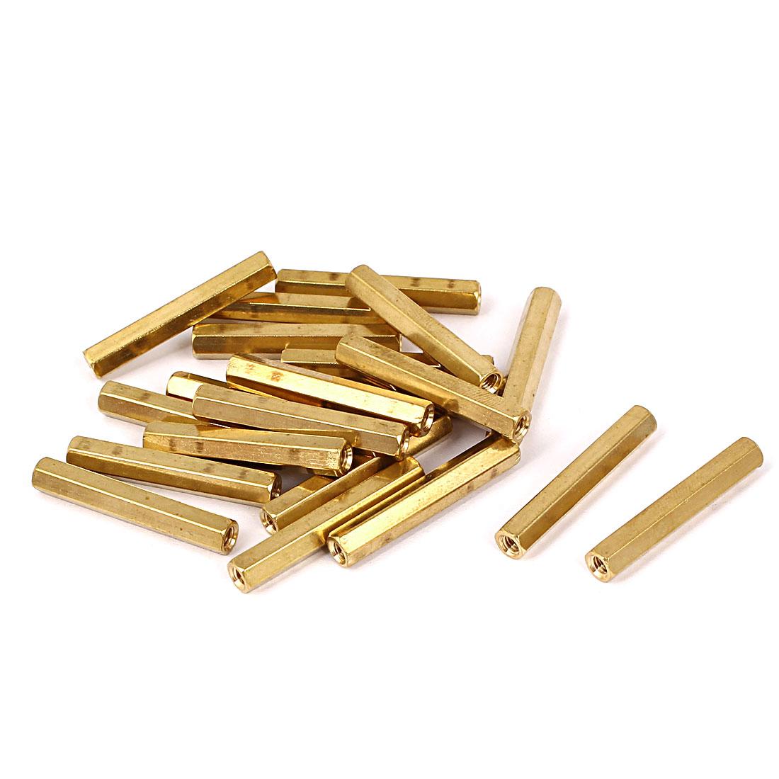 M3 x 27mm Female/Female Thread Brass Hex Standoff PCB Pillar Spacer 20 Pcs