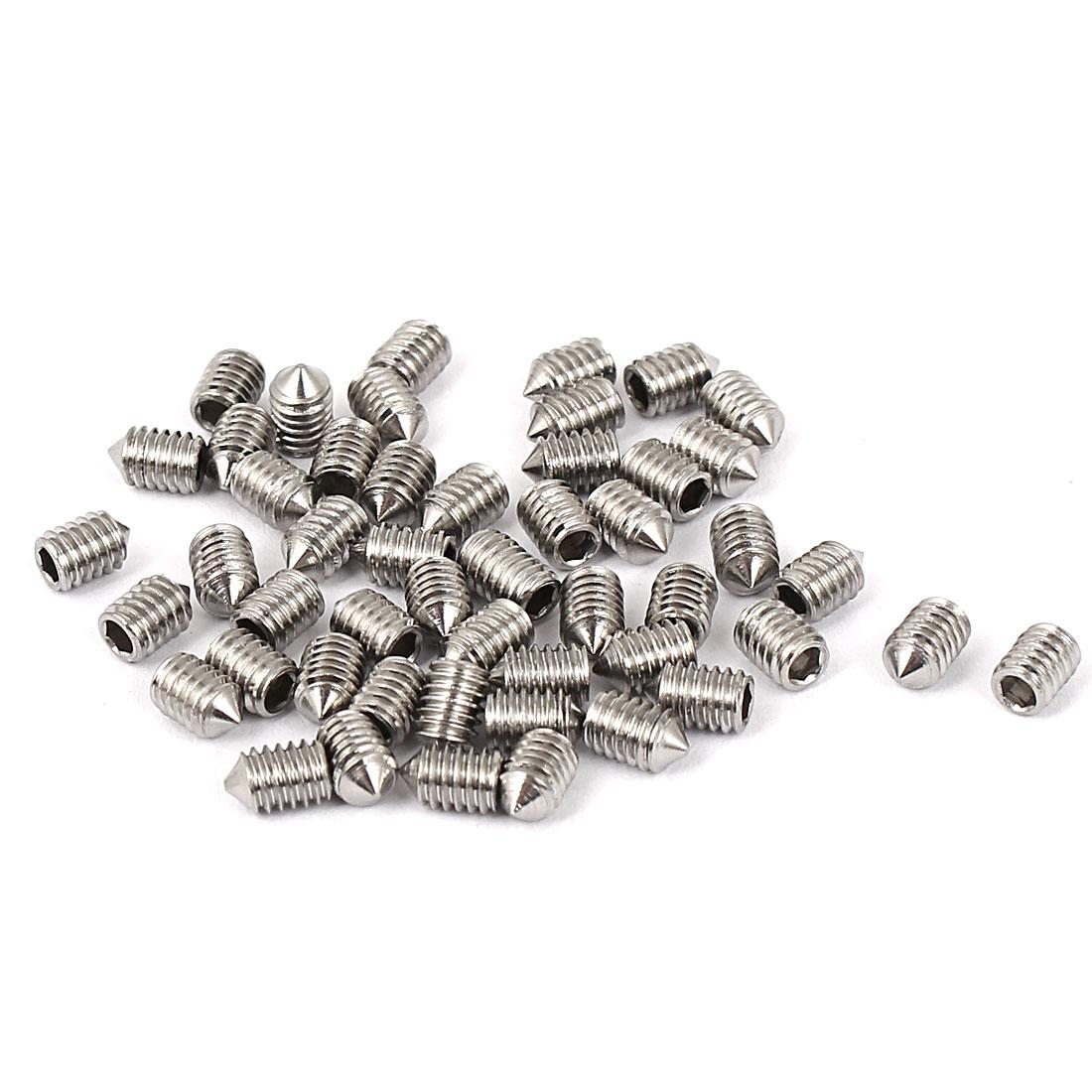 M4 x 6mm Cone Point Hex Socket Set Grub Screw Silver Tone 50 Pcs