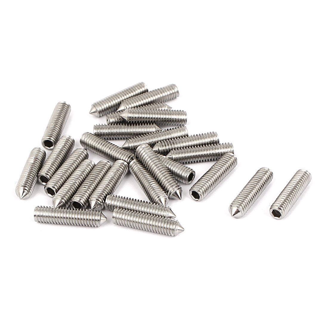M5 x 20mm 304 Stainless Steel Cone Point Hex Socket Set Grub Screw Silver Tone 25 Pcs