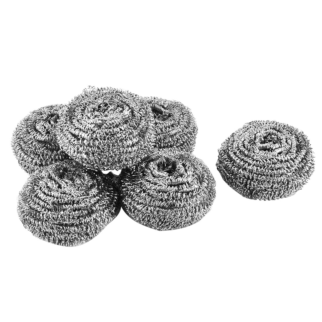 Kitchen Pot Pan Stainless Steel Wire Scouring Pad Scrubber 4cm Dia 6 Pcs