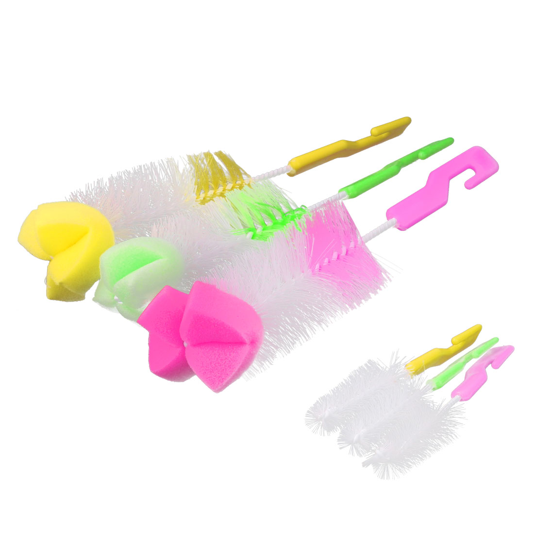 Household Plastic Handle 360 Degree Rotating Milk Bottle Nipple Cleaning Brush 6 in 1