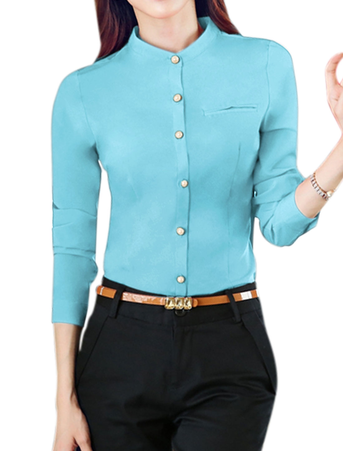 Women Stand Collar Single Breasted Slim Fit Shirt Blue L