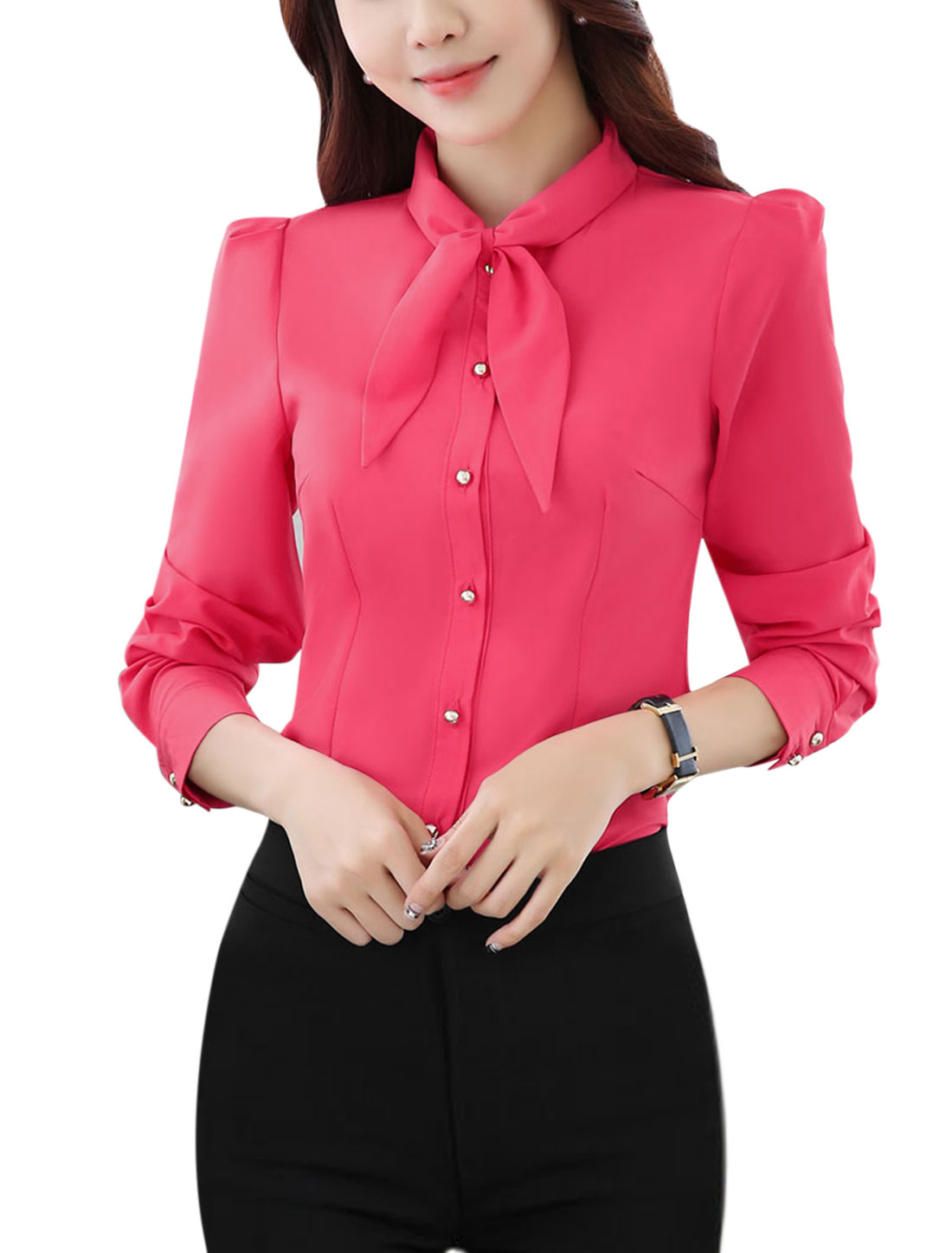 Women Pussybow Neck Single Breasted Slim Fit Shirt Pink M