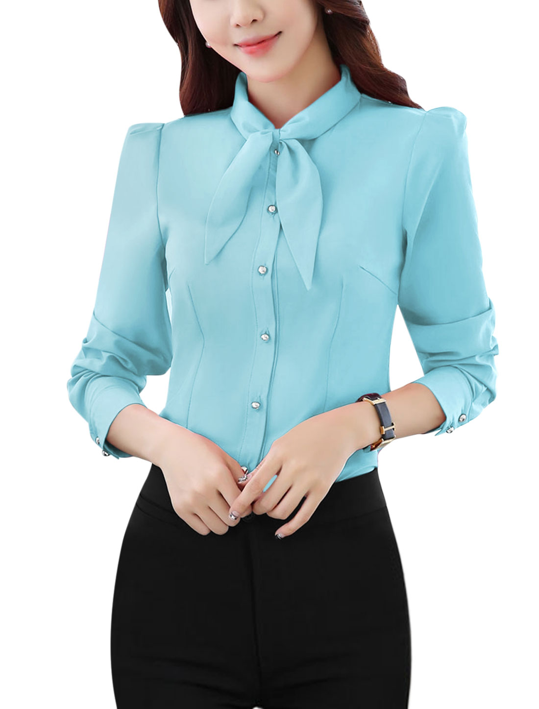 Women Pussybow Neck Single Breasted Slim Fit Shirt Blue M