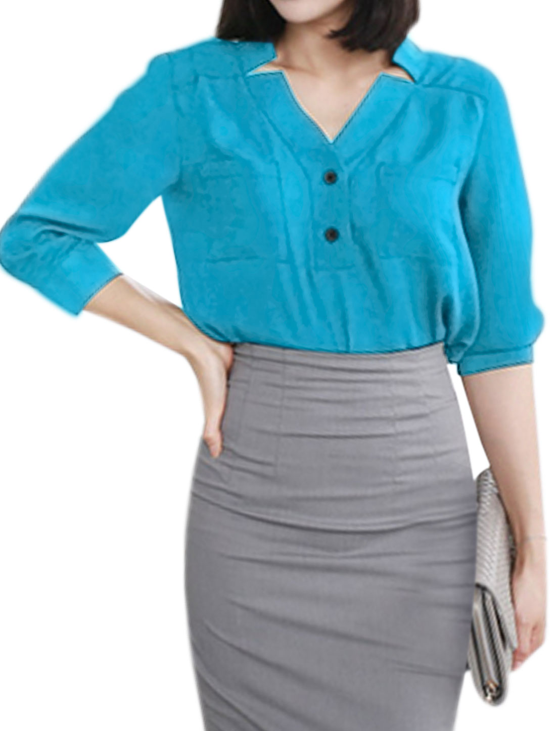 Women 3/4 Sleeves Asymmetric Neck Half Placket Blouse Blue XS