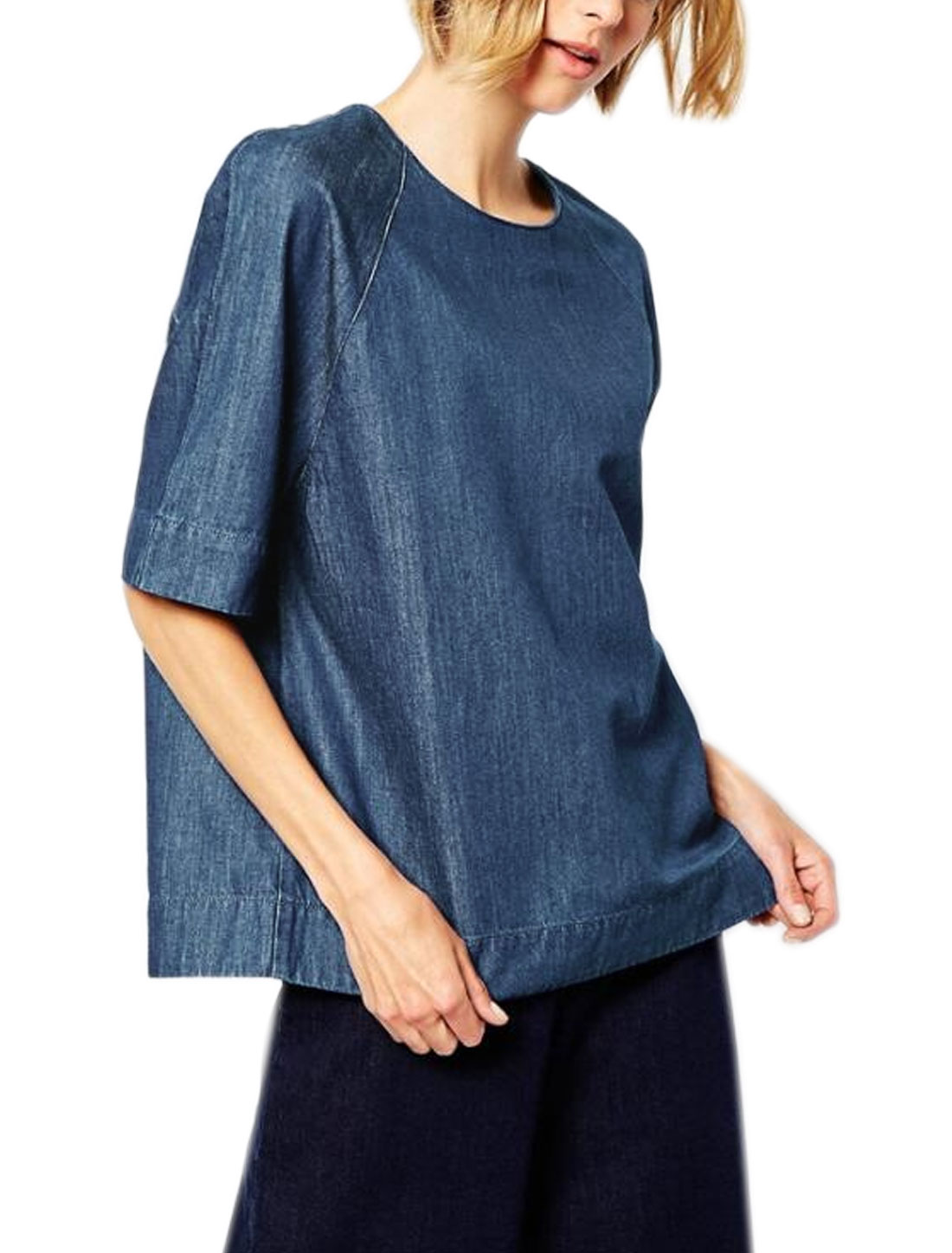 Women Raglan Sleeves Buttons Closure Back Loose Blouse Blue XS