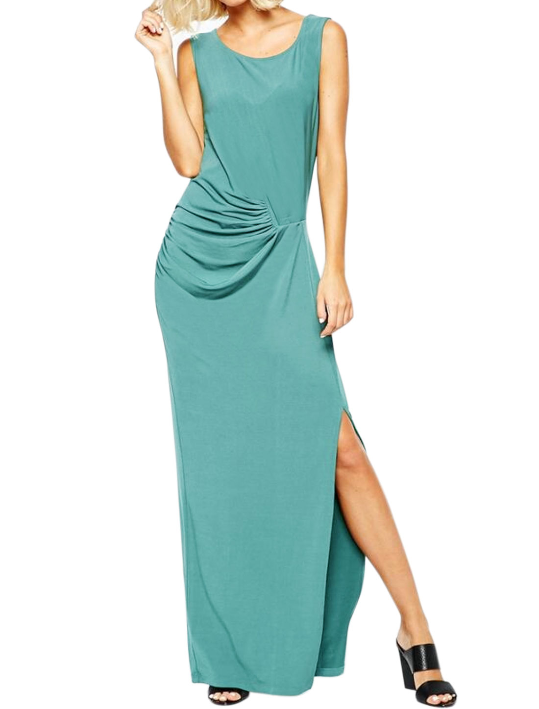 Women Round Neck Sleeveless Split Side Maxi Dress Green M