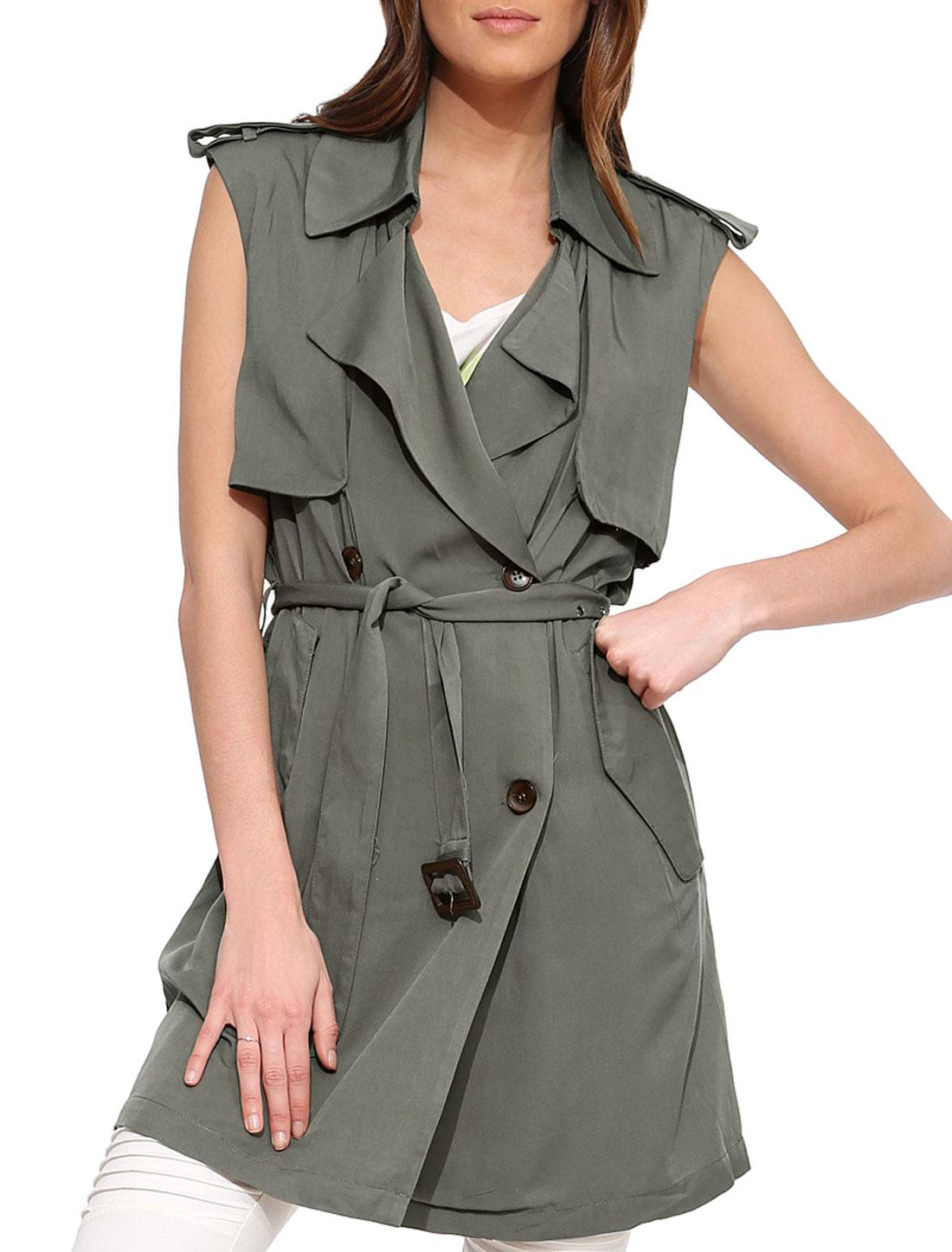 Women Button-Tab Epaulets Overlay Upper Sleeveless Jacket w Belt Gray S