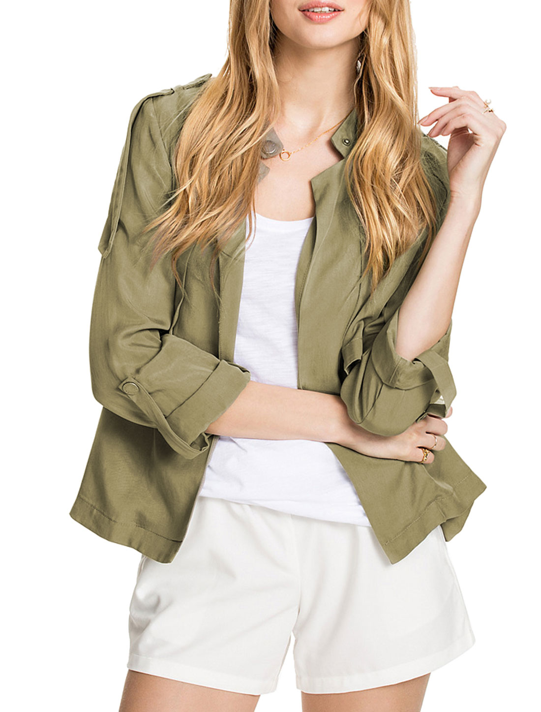 Ladies Overlay Upper Buttonless Roll Up Sleeves Jacket Green M