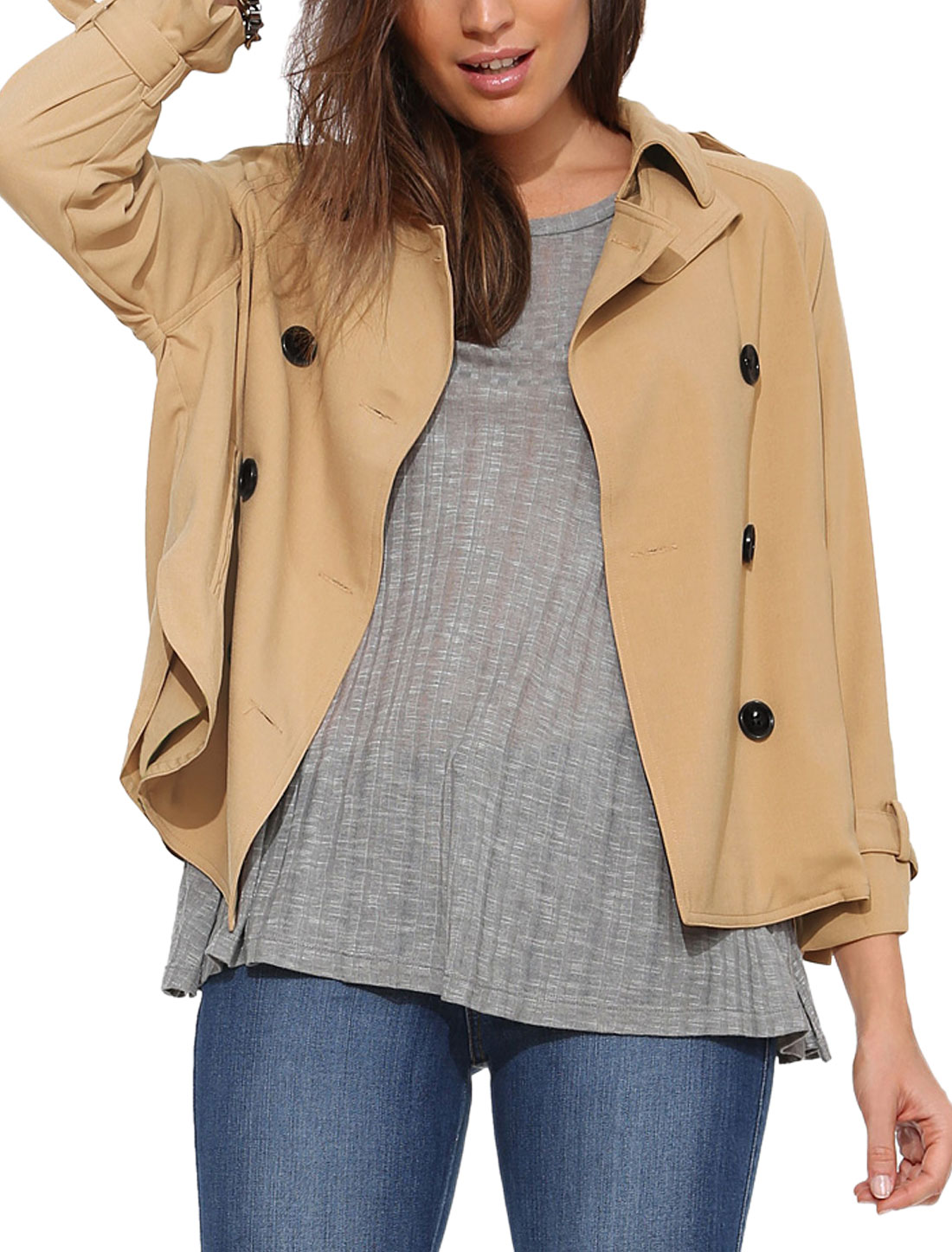 Women Double Breasted Button-Tab Epaulets Trench Jacket Beige XS