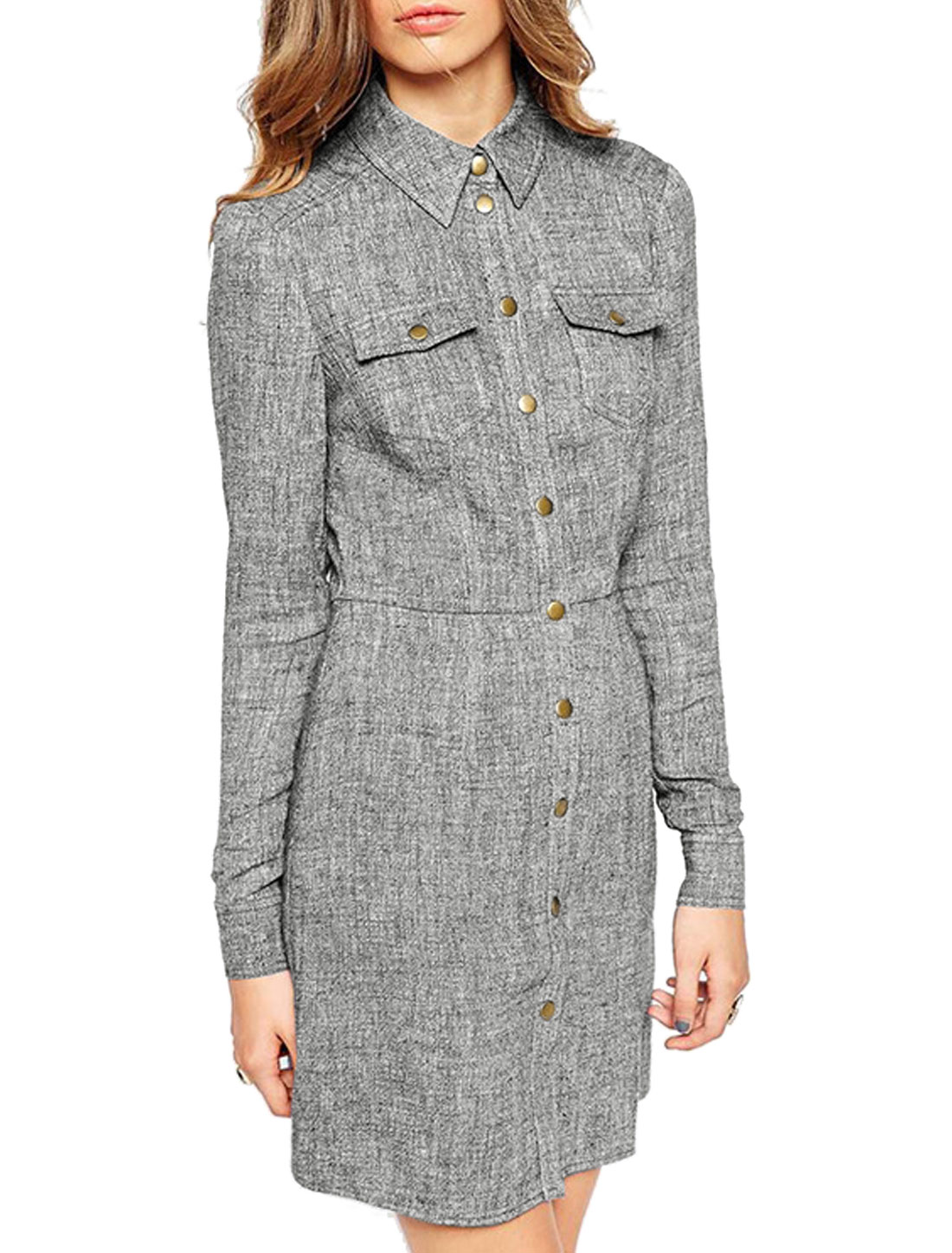 Women Point Collar Snap Buttons Closure Shirt Dress Gray XS