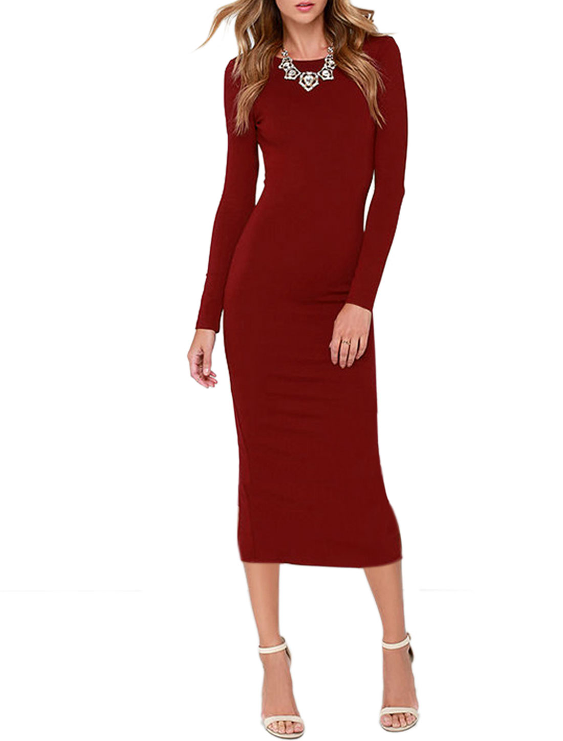Women Long Sleeves Round Neck Backless Split Pencil Dress Red S
