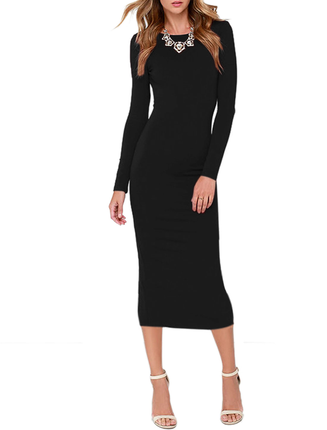 Ladies Long Sleeves Open Back Split Midi Pencil Dress Black L