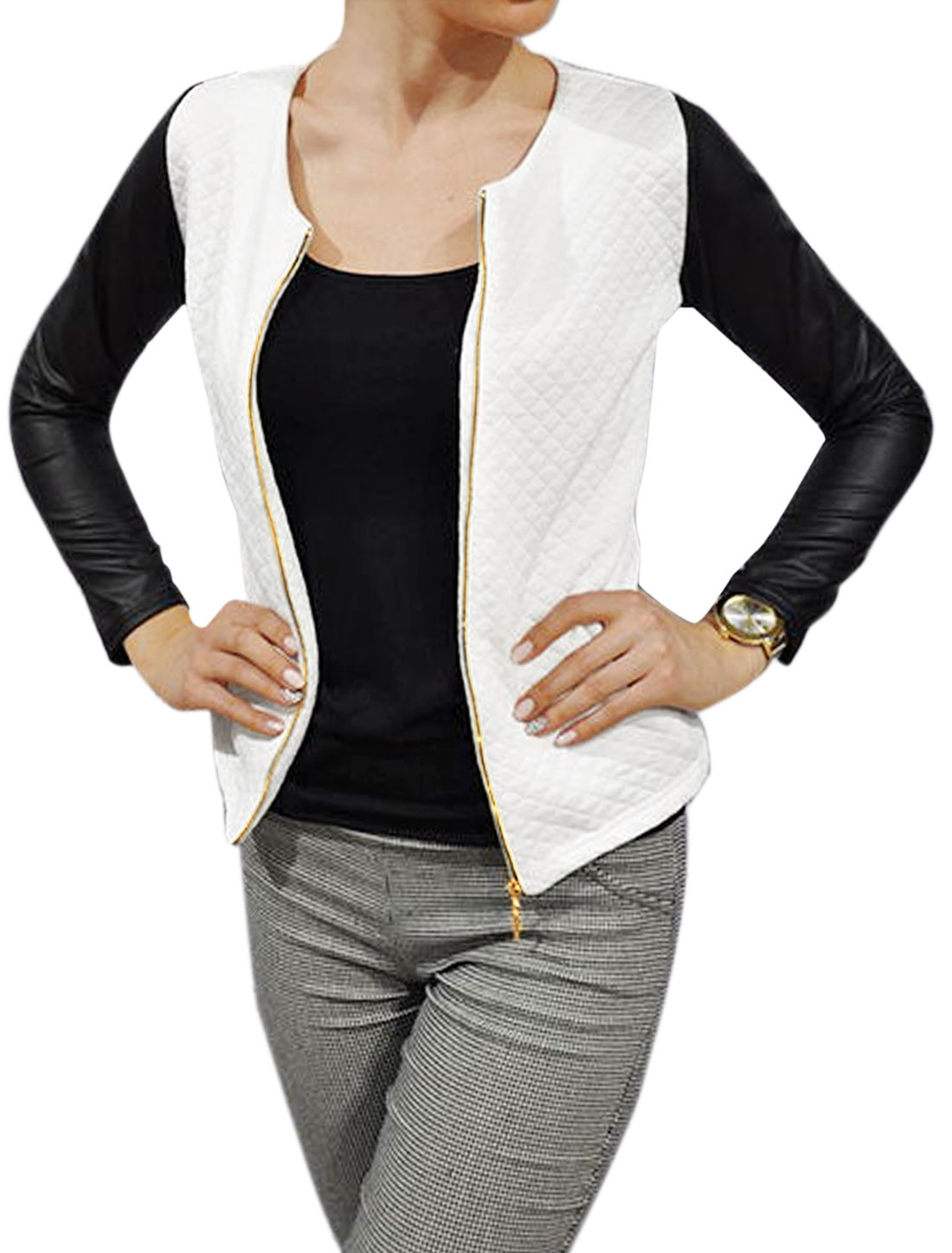 Lady Round Neck Contrast Color PU Panel Slim Fit Jacket White XS