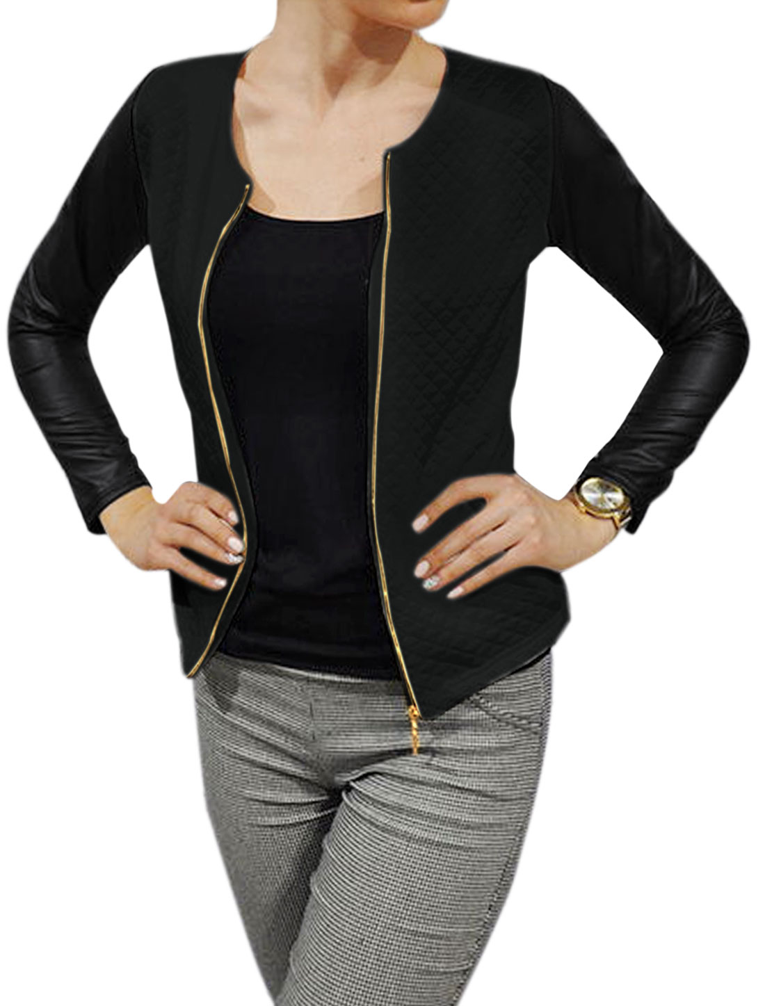 Lady Round Neck Long Sleeves PU Panel Slim Fit Jacket Black XS