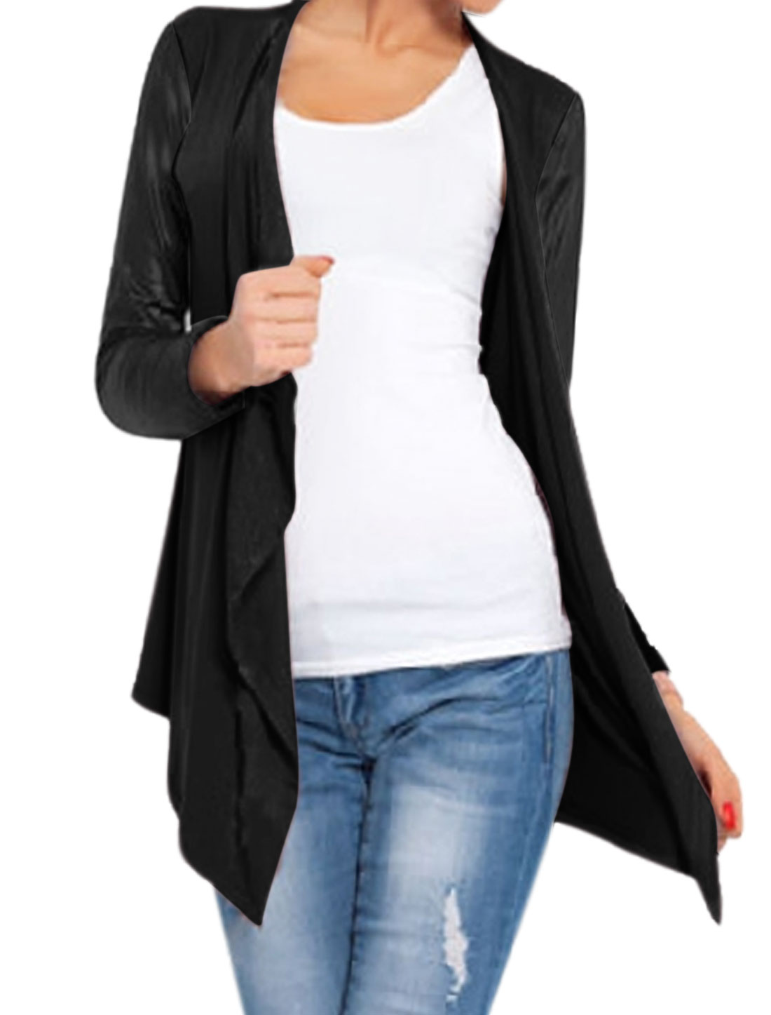 Women Open Front Draped PU Panel Asymmetric Hem Cardigan Black XS
