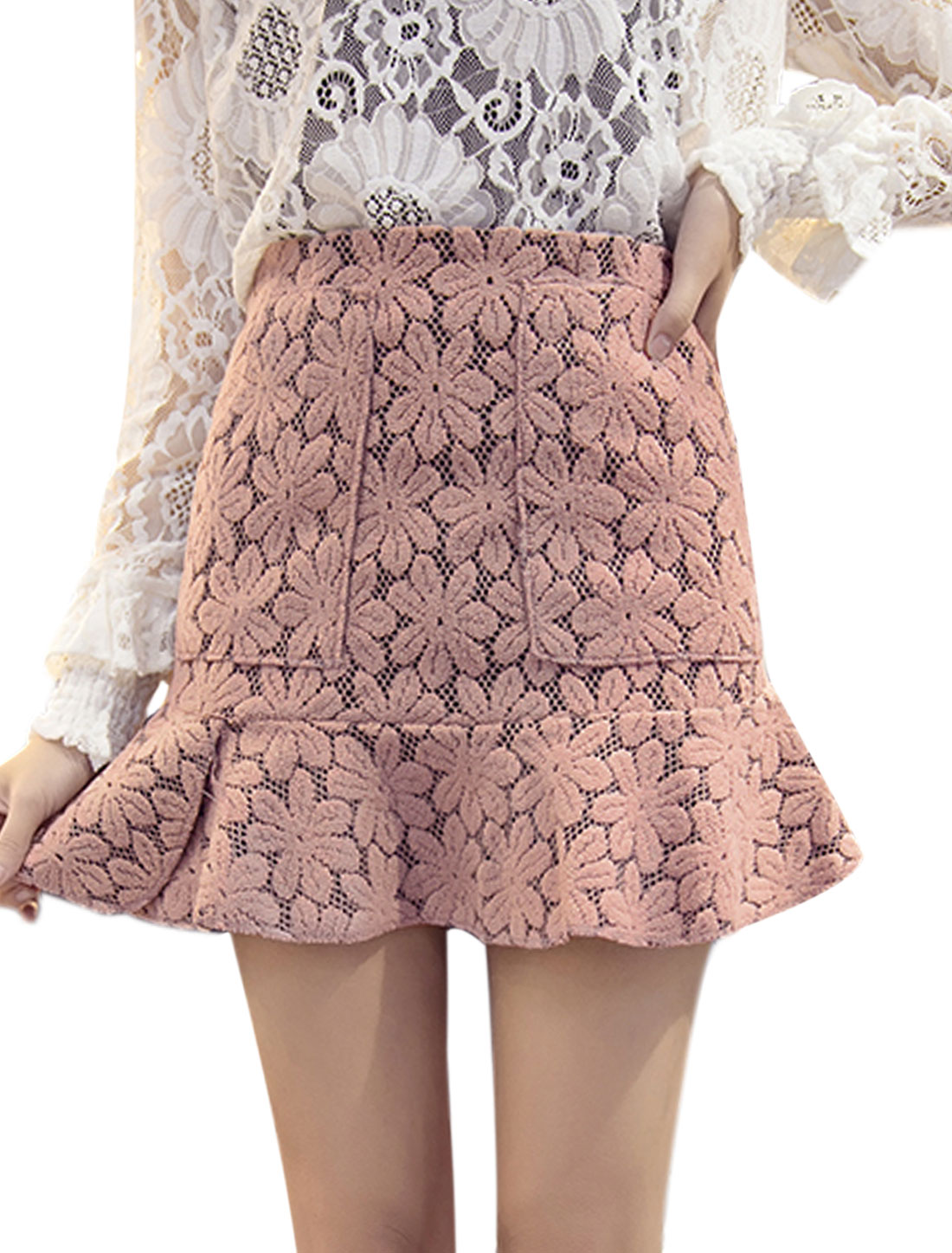 Women High Waist Flouncing Hem Flower Design Mini Skirt Pink S