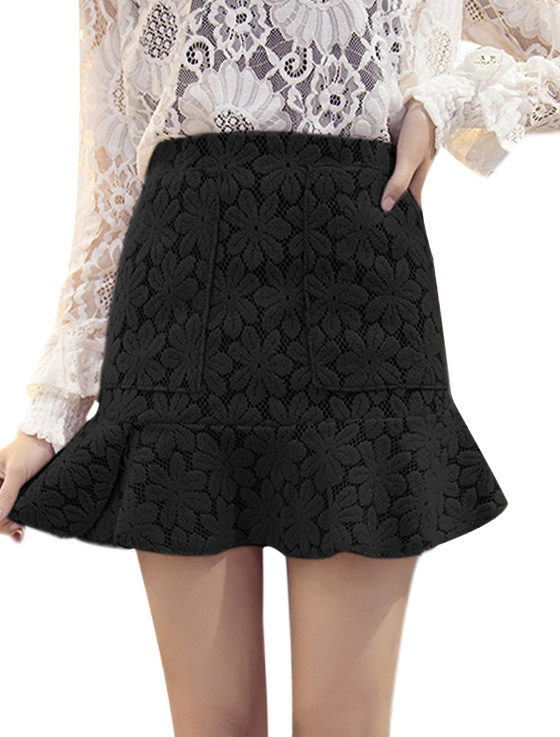 Women High Waist Flouncing Hem Flower Design Mini Skirt Black S