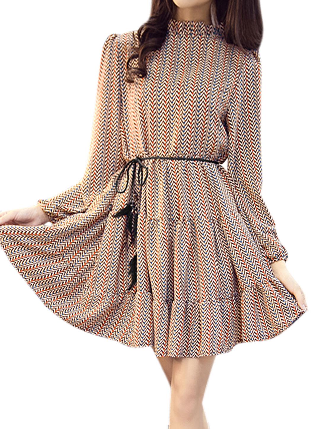 Women Ruffled Collar Zig-Zag Loose Tunic Dress w Waist String Beige S