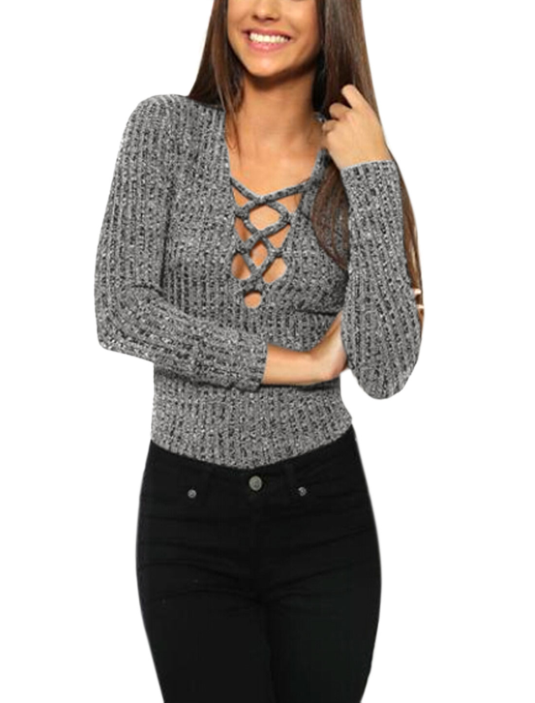 Lady Long Sleeves Deep V Neck Decorative Lacing Ribbed Slim Fit Top Gray S