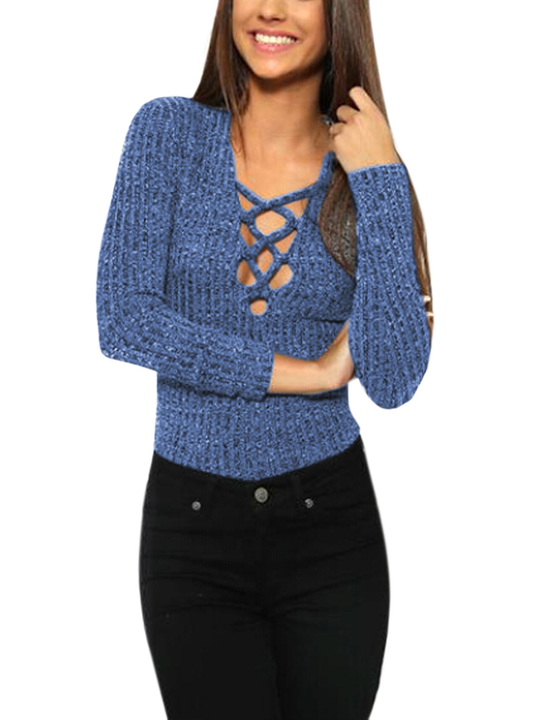 Lady Long Sleeves Deep V Neck Decorative Lacing Ribbed Slim Fit Top Blue S
