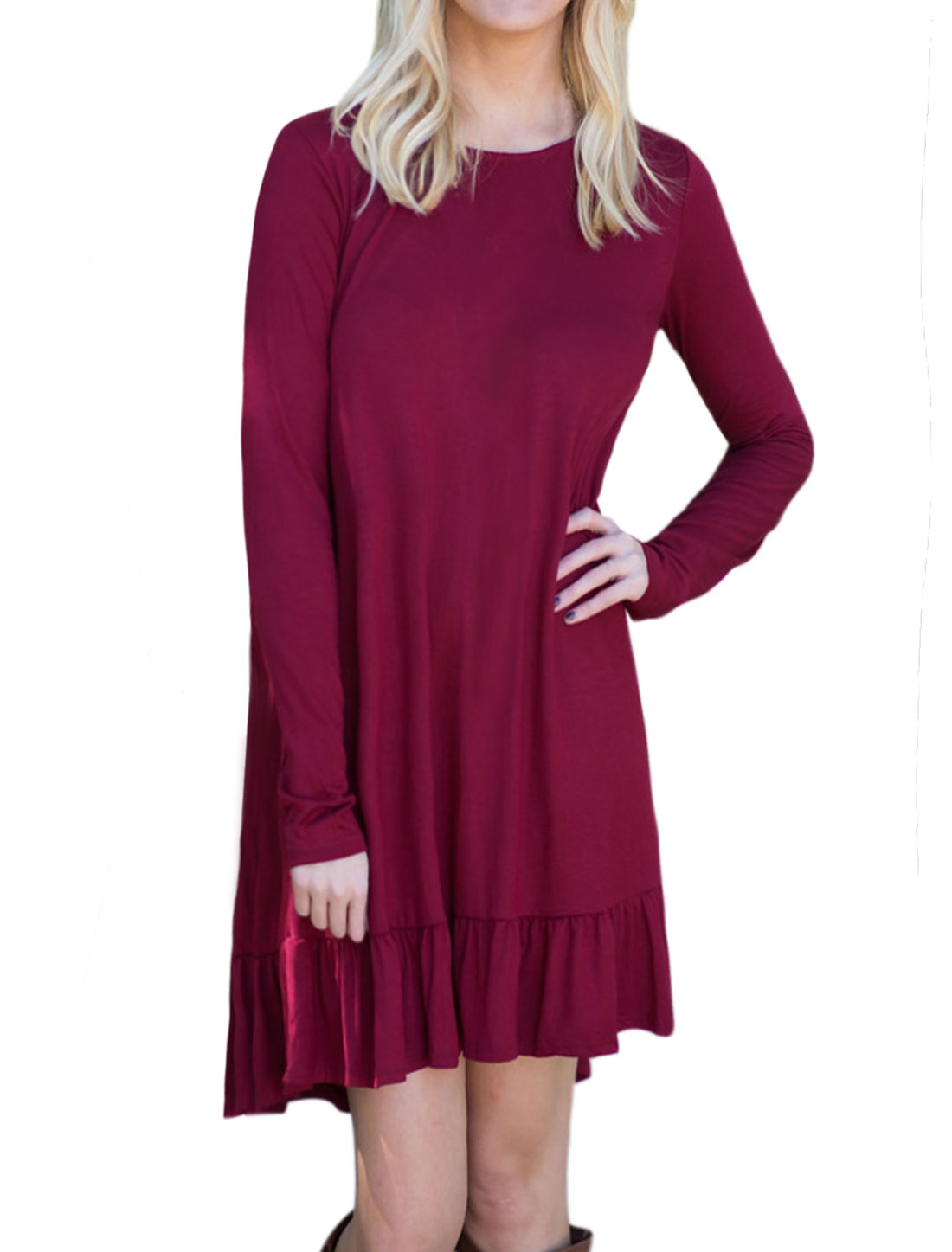 Women Round Neck Flouncing Hem High Low Loose Tunic Dress Purple M