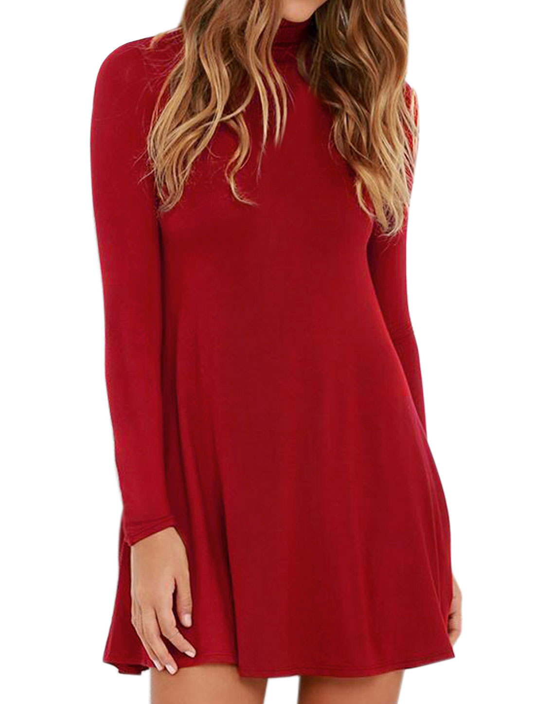 Women Funnel Neck Long Sleeves Mini A Line Dress Red S