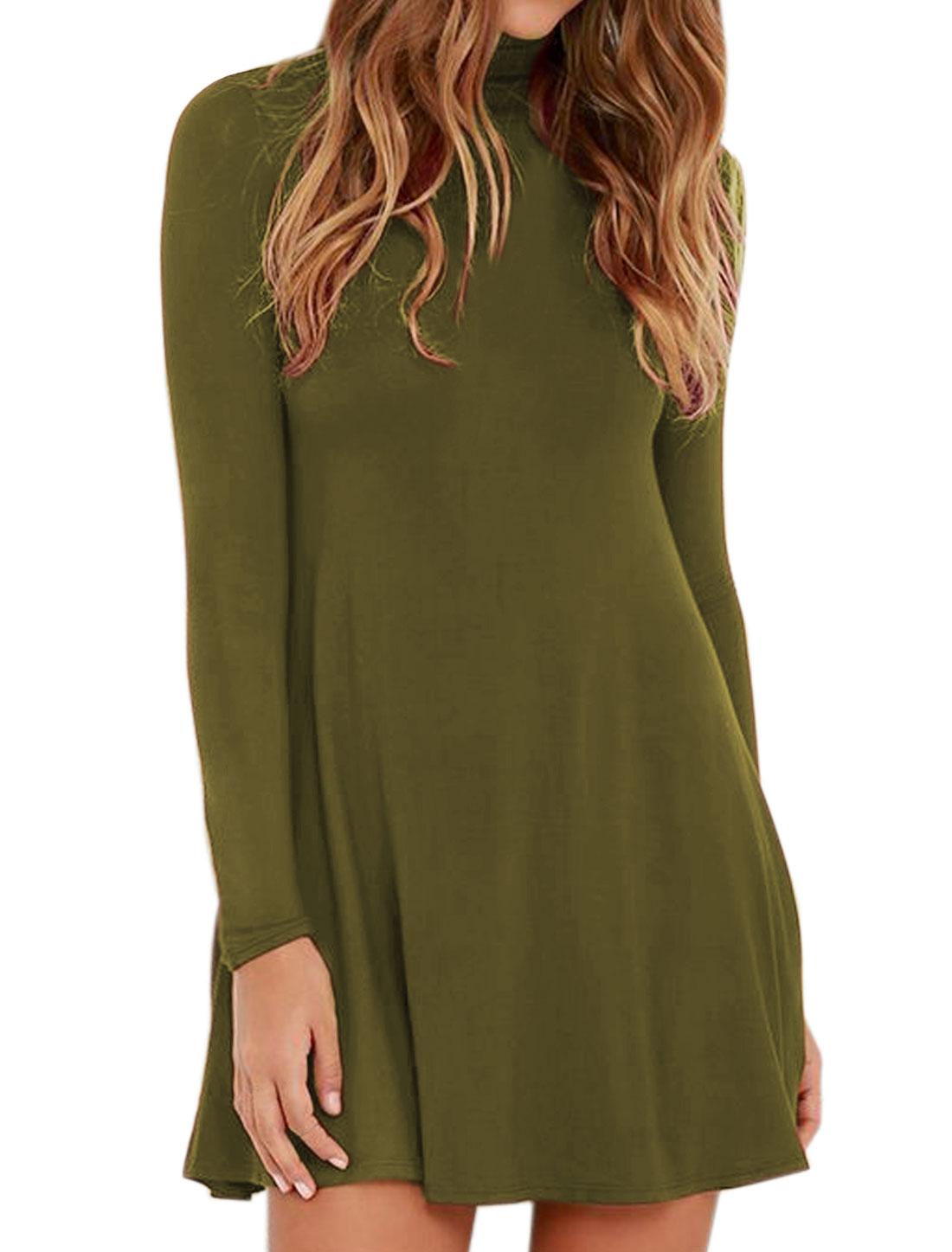 Women Funnel Neck Long Sleeves Mini A Line Dress Green S