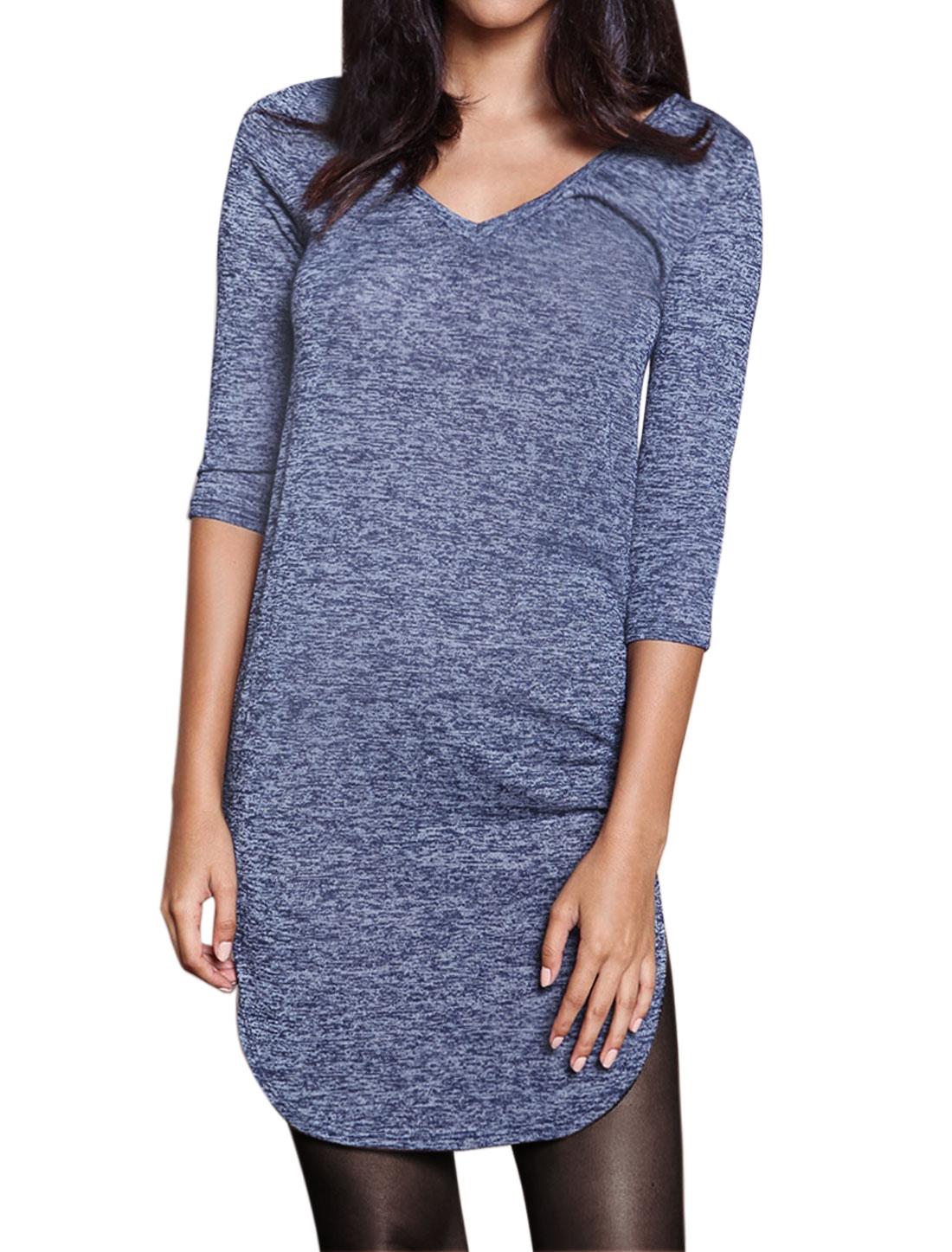 Women V Neck 3/4 Sleeves Round Hem Slim Fit Tunic T-Shirt Blue S
