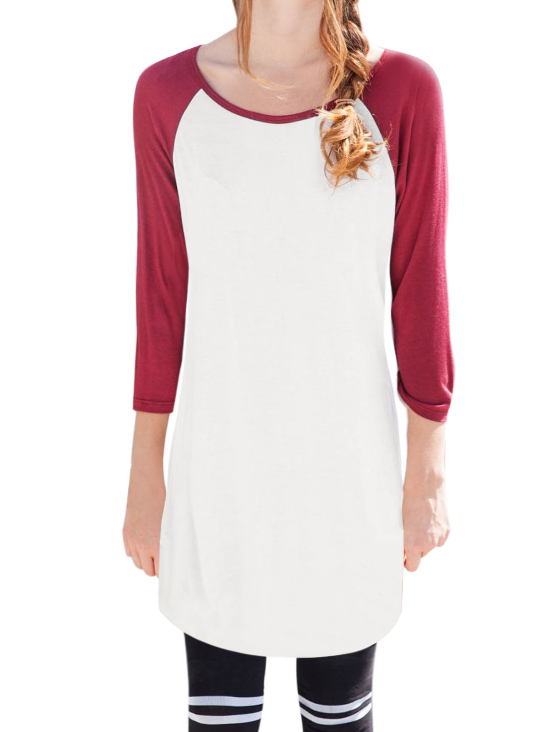 Women Contrast Color Raglan Sleeves Tunic Tee Shirt White XS