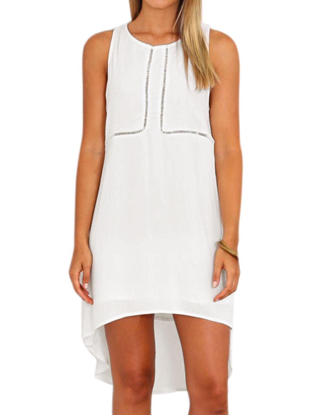 Women High Low Hem Crochet Panel Racerback Tunic Dress White M
