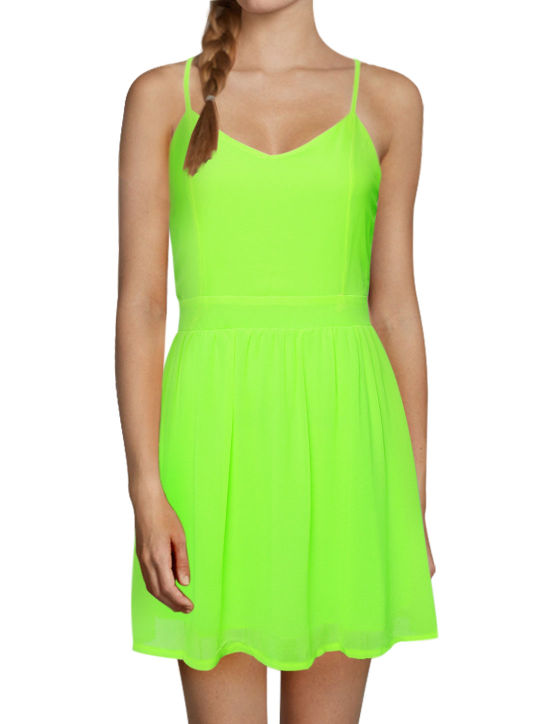 Women Asymmetric Neck Open Back Tunic Cami Dress Green M