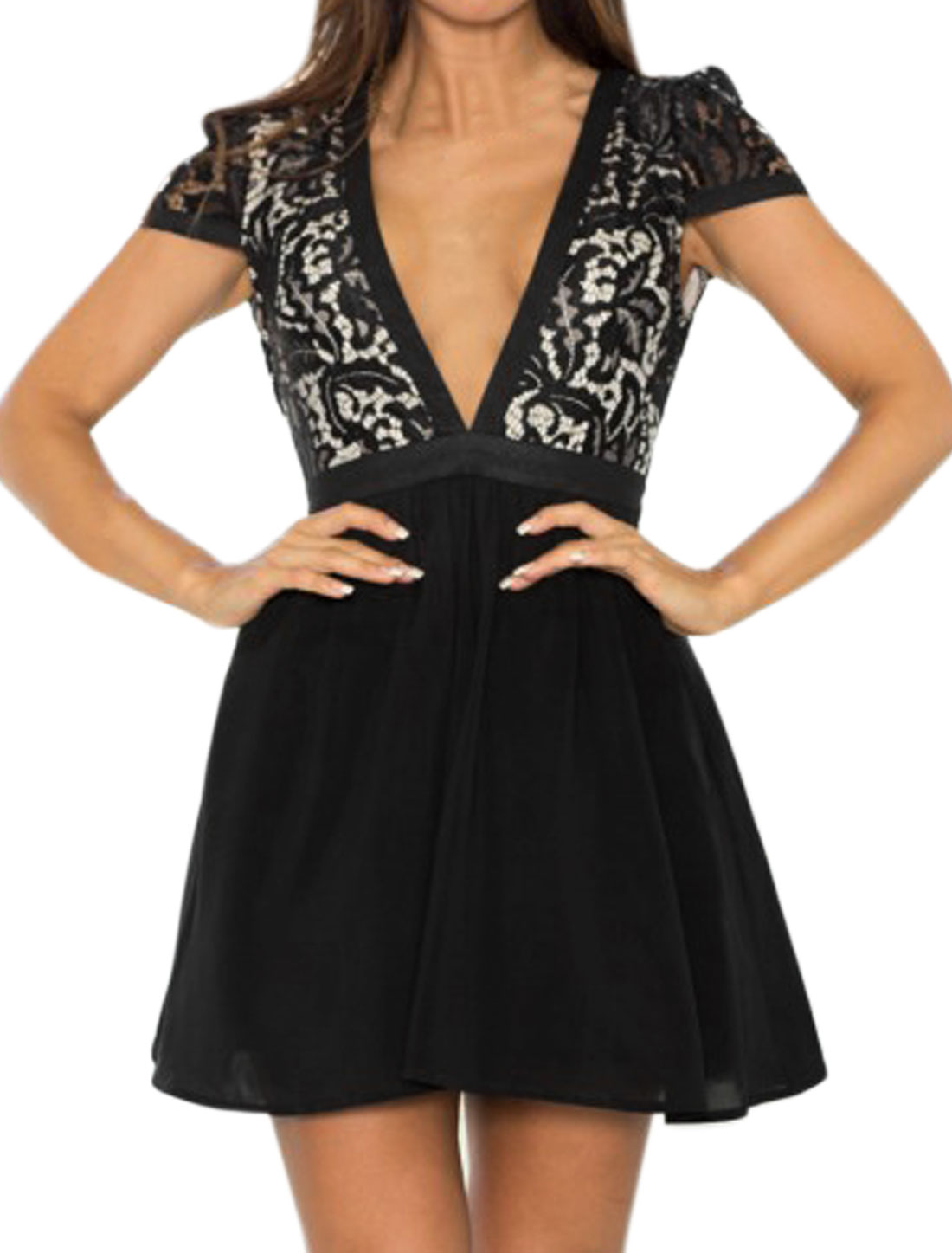Women Cap Sleeves Deep V Neck Lace Panel Mini Dress Black M